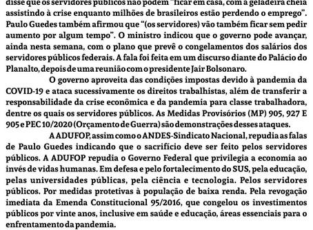Nota da ADUFOP em  repúdio às declarações do ministro da economia