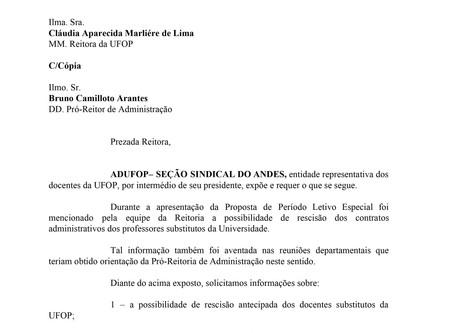 ADUFOP solicita à Reitoria informações referentes ao contrato de docentes substitutos