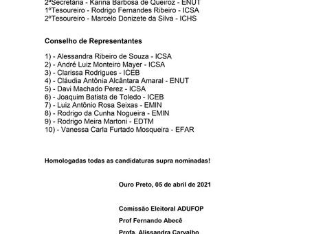 Comissão Eleitoral ADUFOP torna público a homologação das candidaturas