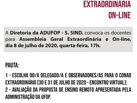 Diretoria da ADUFOP convoca docentes para Assembleia Geral Extraordinária e On-line