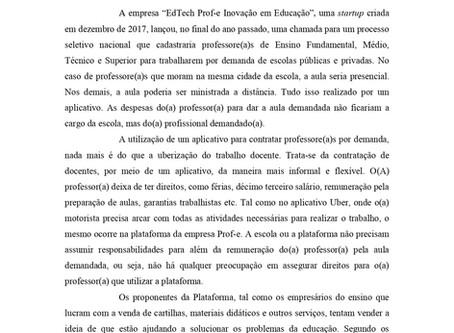 Nota de repúdio da Diretoria do ANDES-SN: Contra a Uberização do trabalho docente