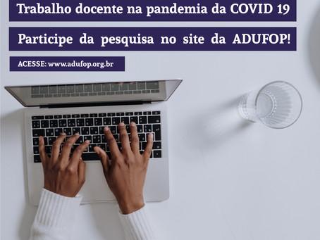 Pesquisa: Trabalho docente na pandemia da COVID 19