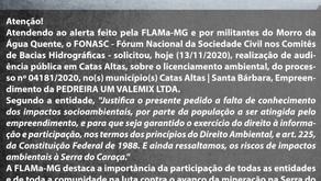 FLAMa-MG - ATENÇÃO: solicitação de audiência pública em Catas Altas