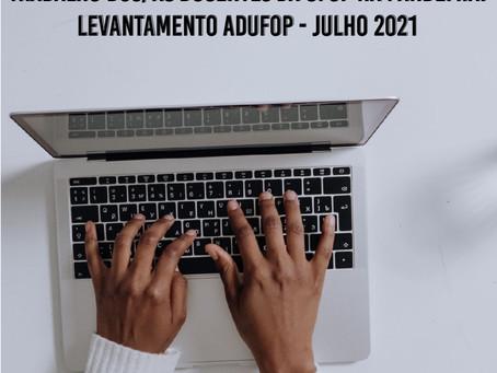 Trabalho dos/as Docentes da UFOP na Pandemia: Levantamento ADUFOP - Julho 2021