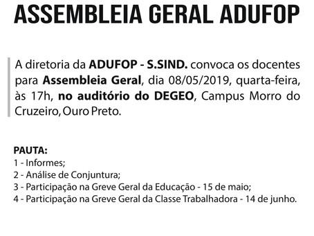 Diretoria da ADUFOP convoca docentes para ASSEMBLEIA GERAL