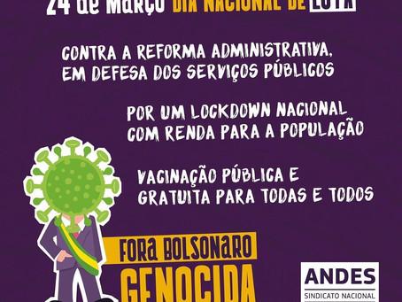 Dia de luta em defesa da vida, da vacina, do emprego, do auxílio emergencial e em defesa dos serviço