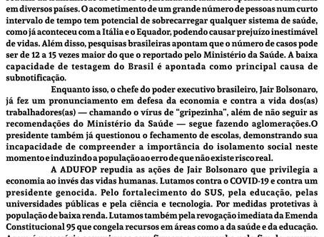 Nota de repúdio às atitudes do presidente da República Jair Bolsonaro