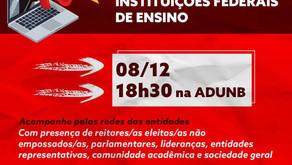 Plenária e ato online em Defesa da Autonomia e Democracia  nas Instituições Federais de Ensino