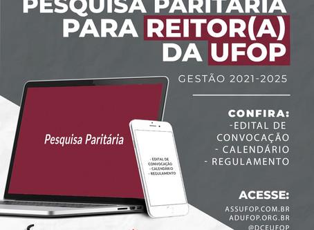 Edital de Convocação de Pesquisa Paritária para os cargos de Reitor(a) e Vice-Reitor(a) da UFOP