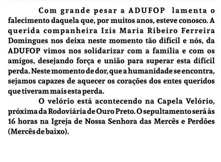 Nota de pesar pelo falecimento da ex funcionária da ADUFOP Izis Maria Ribeiro Ferreira