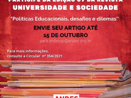 Artigos para revista Universidade e Sociedade podem ser enviados até 15 de outubro