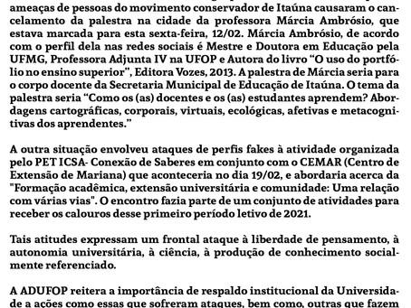 Nota de repúdio aos ataques em atividades acadêmicas que envolvem a comunidade da UFOP