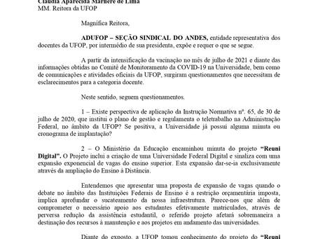 ADUFOP solicita informações à Reitora acerca do Reuni Digital, IN 65 e a perspectiva de retorno