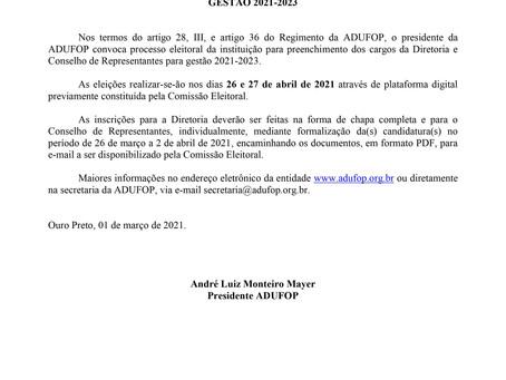 Edital de Convocação – Eleições ADUFOP -Gestão 2021-2023