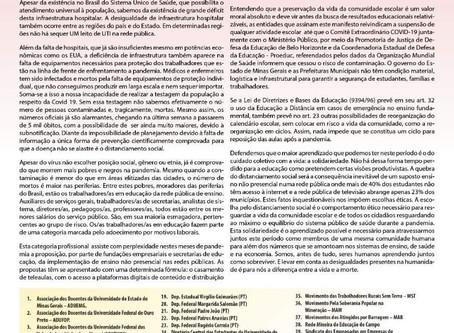 Manifesto em Defesa da Vida na Educação em Minas Gerais