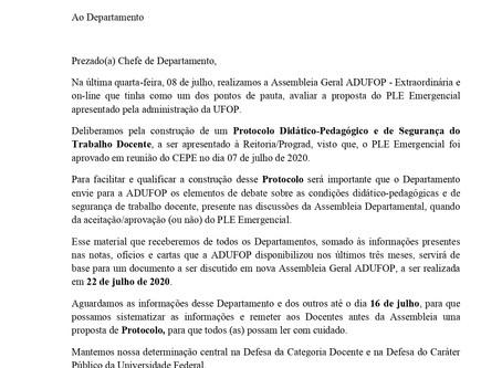 ADUFOPsolicita aos Departamentos e Institutos informações referente as deliberações do PLE
