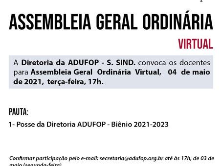 Diretoria da ADUFOP convoca docentes para Assembleia Geral Ordinária  Virtual