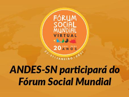 ANDES-SN participará do FSM 2021, que terá como tema Mundo pós-covid-19
