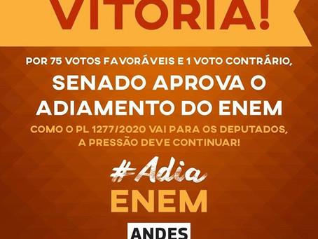 Por 75 votos a 1, Senado aprova adiamento do ENEM