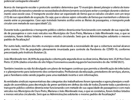 Nota de preocupação – Retorno presencial das aulas em Ouro Preto, Mariana e João Monlevade
