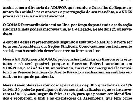 Assembleia Geral ADUFOP Extraordinária e On-line