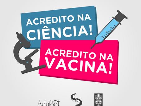 """Estudante, é hora de participar da Campanha Acredito na ciência! Acredito na vacina!"""""""