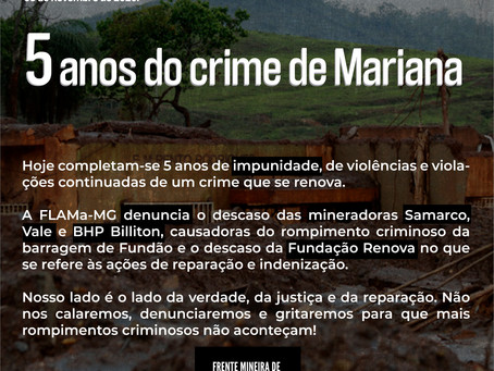 05 de novembro de 2020: 5 anos do crime de Mariana