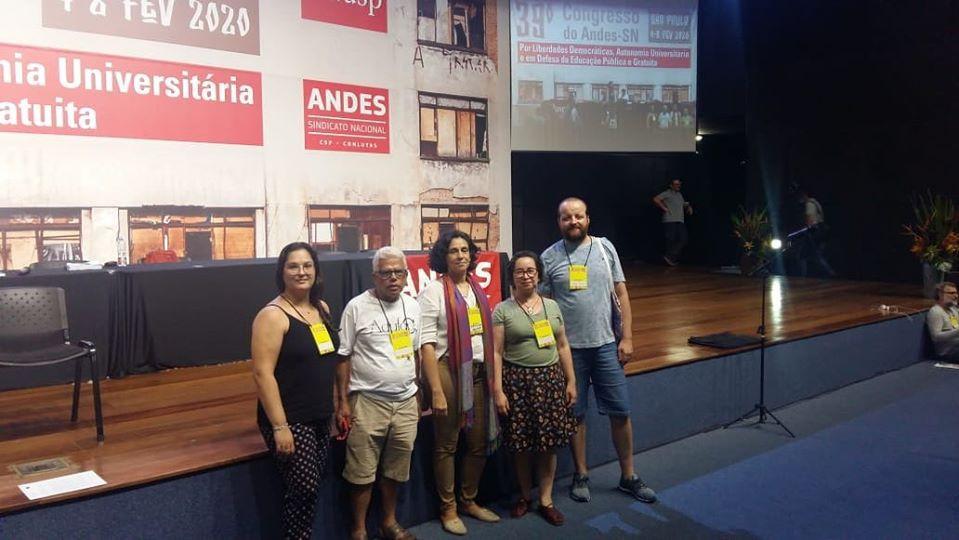 Da esquerda para a direita, os docentes: Kathiuça Bertollo, Joaquim Toledo, Cristina Maia, Clarissa Rodrigues, Rodrigo Ribeiro. - Divulgação