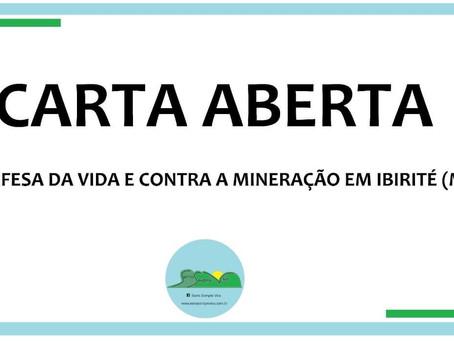 Carta aberta em defesa da vida e contra a mineração em Ibirité(MG)