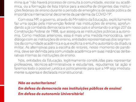 NOTA DE REPÚDIO DAS ENTIDADES DA EDUCAÇÃO A MP 979 QUE TRATA DA INDICAÇÃO DE REITORES PRÓ-TEMPORES