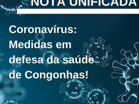 Coronavírus: Medidas em defesa da saúde de Congonhas!