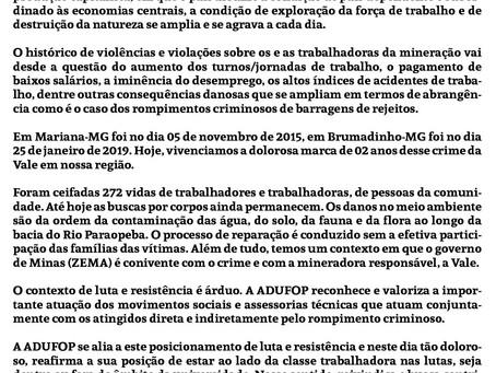 Nota da ADUFOP sobre o rompimento crime da Vale em Brumadinho-MG - Do luto à luta!