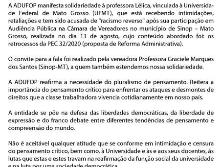 Nota de solidariedade à professora Lélica Elis Pereira de Lacerda
