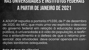 MEC determina volta às aulas presenciais nas universidades e institutos federais em janeiro de 2021