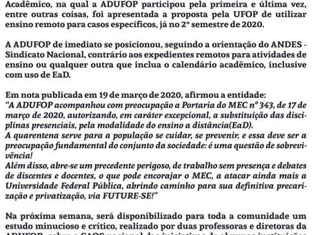 Nota da ADUFOP contra o Ensino Remoto proposto pela reitoria da UFOP
