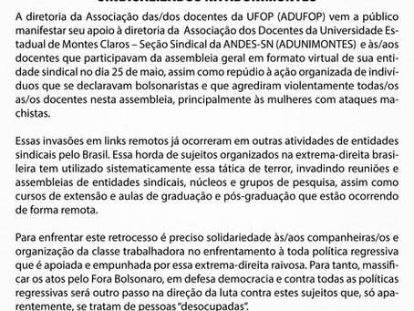 Nota de Apoio à Diretoria e às/aos docentes sindicalizados na ADUNIMONTES