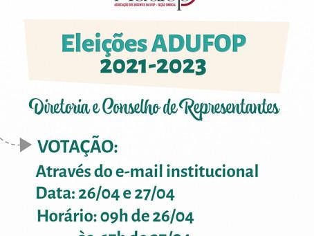 Eleições ADUFOP |  Início da Votação