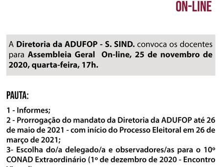 Diretoria da ADUFOP convoca docentes para Assembleia Geral On-line