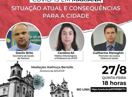 Live | COVID-19 em Mariana: situação atual e consequências para a cidade