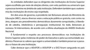 Nota conjunta de apoio ao processo da Pesquisa Paritária para Reitoria da UFOP, quadriênio 2015-2025