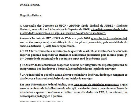 ADUFOP encaminha ofício  à Reitora da UFOP solicitando a SUSPENSÃO do Calendário Acadêmico