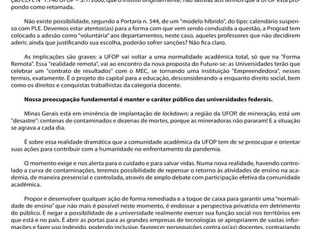 Alerta da ADUFOP à Comunidade Acadêmica da UFOP
