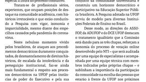 Nota conjunta de apoio à Comissão de Pesquisa Paritária para Reitoria da UFOP