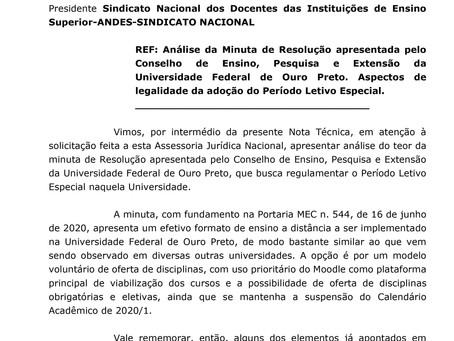 Análise da Assessoria Jurídica Nacional: Minuta de Resolução apresentada pelo CEPE da UFOP