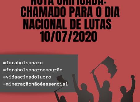 NOTA UNIFICADA - CHAMADO PARA O DIA NACIONAL DE LUTAS 10/07/2020