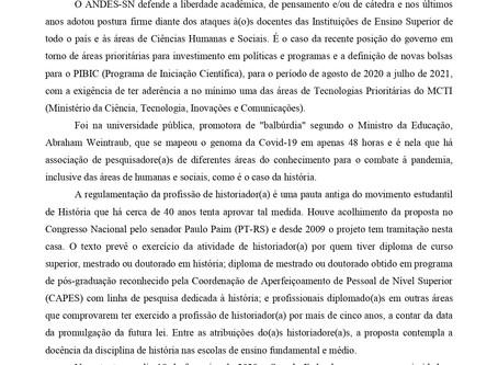 Nota do ANDES-SN de repúdio ao veto presidencial a regulamentação da profissão de  historiador(a)