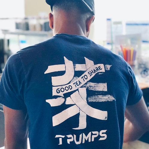 Navy Peace Love Cha T-Shirt