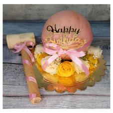 Pink Pinata Cake with Fresh Roses