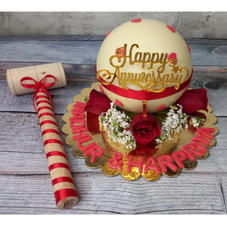 White Pinata Cake with Hearts and Roses