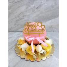 Pink Pinata Cake with Fresh Flowers